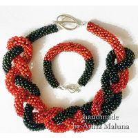 Комплект украшений ручной работы (ожерелье жгут лариат и браслет) из бисера