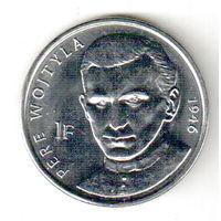 Конго 1 франк 2004 25 лет правления Иоанна Павла II /священник Войтыла, 1946/