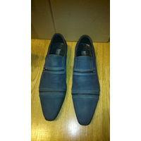 Туфли мужские, р-р 41-42, б/у 1 раз, цвет: синий