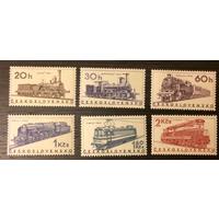 Поезда Паровозы Локомотивы Транспорт 1966 Чехословакия MNH серия 6 м зуб