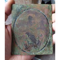 Раритетише!медная пластина с изображением Николая второго.с рубля