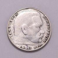 """Германия, 2 марки 1937 год, """"Гинденбург"""",  Ag"""