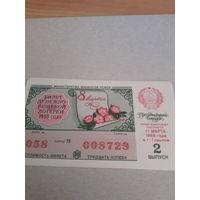 Лотерейный билет РСФСР  1988