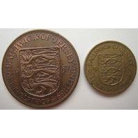 Джерси 1/4 шиллинга + 1/12 шиллинга 1957 г. (u)