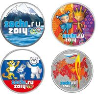 Цветные монеты Сочи 2014