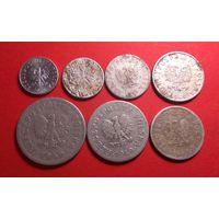 1, 2, 5, 10, 20, 50 грошей и 1 злотый 1949. Польша. Набор 1949 алюминий!!!