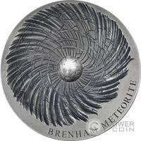 "Чад 5000 франков 2016г. ""Метеорит Бренхам."" Монета в деревянном подарочном футляре; сертификат; коробка. СЕРЕБРО 155,5гр.(5 oz)."