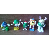 Фигурки M&M's эмэндэмс (Эм-н-Эмс) 5шт.: Желтый, Синий, Зеленая Леди (GREEN LADY Choco Popper Top), Зеленый. (возможен обмен)