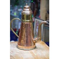 Кофейник медно - латунный луженый с емкостью для заварки кофе .
