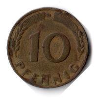 Германия. 10 пфеннигов. 1950 D