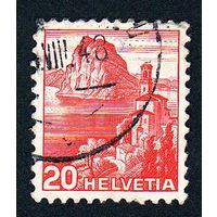 Швейцария, почтовая марка, 1936 год, номинал 20с, SG#375A (*4)