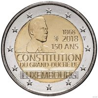 2 евро 2018 Люксембург 150 лет конституции UNC из ролла