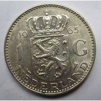 Нидерланды. 1 гульден 1965. Серебро. 257