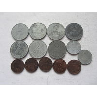 Дания 14 монет - 1-2-5 эре