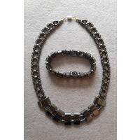 Колье и браслет из гематита (натуральный камень)