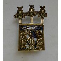 Старинная бронзовая икона Воскресенье Христово.Эмали.Не частый сюжет.