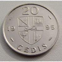"""Гана. 20 седи 1995 год KM#30 """"Каури раковина"""""""