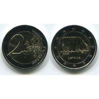 Латвия. 2 евро (2016, UNC) [Корова]