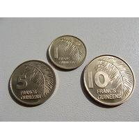 Гвинея. набор 3 монеты 1, 5, 10 франков 1985 год