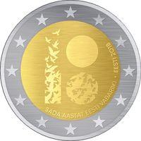 2 евро Эстония 2018 100-лет Эстонской Республике (из ролла)