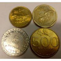 Индонезия 5, 50, 100, 500 рупий, набор из 4 монет 1979-1998, тип 2, Республика Индонезия