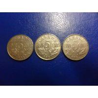 Канада 5 центов 1922,1927,1934 г.г.-цена за монету