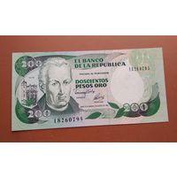Банкнота 200 песо Колумбия 1991 г.