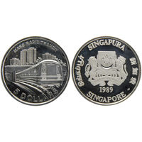 Сингапур 5 долларов 1989 метрополитен Сингапура UNC