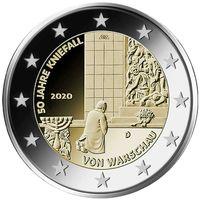 2 евро 2020 Германия  Коленопреклонение в Варшаве D UNC из ролла