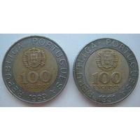 Португалия 100 эскудо 1989, 1991 гг. Цена за 1 шт.