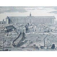 Верфь Остъ - Индской компании.  с гравюры И. Мульдера. 1694г.  21 х 20см.