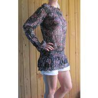 Шикарная шифоновая блузка-туника в мелкий цветочный принт, р.42-44