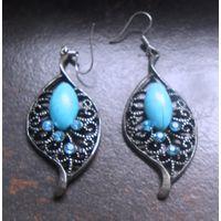 Тибетские сережки, серьги, тибетское серебро.