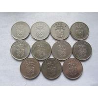 Дания 11 монет по 1 кроне