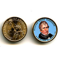 США ЦВЕТНОЙ доллар 2009 William Henry Harrison UNC