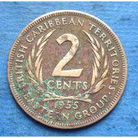 Британские Карибские территории (Карибы) 2 цента 1955