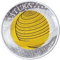 "Палау 2 доллара 2017г. ""Солнечная система: Сатурн"". Монета в капсуле; подарочном футляре; сертификат; коробка. СЕРЕБРО 8,3гр.; НИОБИЙ 6,7гр."