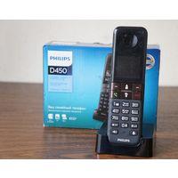 Радиотелефон Philips D4501B база + трубка, АОН, CallerID, экран монохромный, клавиатура c подсветкой, хорошее состояние, комплект в коробке, гарантия 1 месяц.