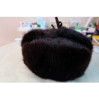Шапка ушанка женская норковая темнокоричневая. Размер 57. (номер 1)