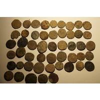 Античные римские монеты , 50 штук, без чистки