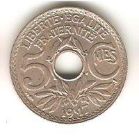 ФРАНЦУЗСКАЯ РЕСПУБЛИКА . 5 САНТИМОВ 1917. 3 грамма. ПРЕВОСХОДНАЯ. РЕДКАЯ