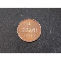 1 пенни 1914 медь Николай 2 для Финляндии (штемпельный блеск)