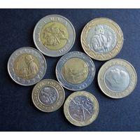 Семь биметаллических монет Европы. 1988-2010 г.