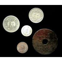 5 МОНЕТ ОСМАНСКОЙ ИМПЕРИИ С СЕРЕБРОМ ( 2 куруша, 1293 (1876 г.) Ягоды справа вверху от тугры )