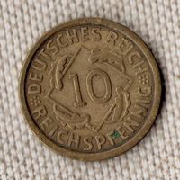 Германия 10 пфеннигов 1925 А//(Oct)