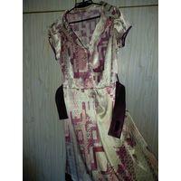 Платье из тонкого атласа стрейч р.46-48, приятная к  телу  ткань.