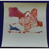 Литография Cantatore с сертификатом, гравюра