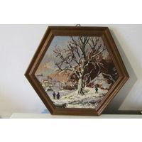 Гобелен картина в дубовой рамке  35 на 35 см Дуб ткань Германия 60-х