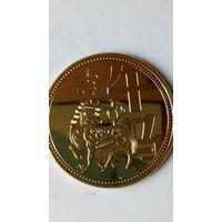"Китай сувенирная монета ""Год лошади"" позолота. 38 мм. распродажа"