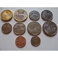 Зимбабве. Полный набор 10 монет 1 цент - 25 долларов 1988 - 2002 год